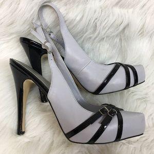 Shoedazzle Annalee Grey Black Patent Platform Heel